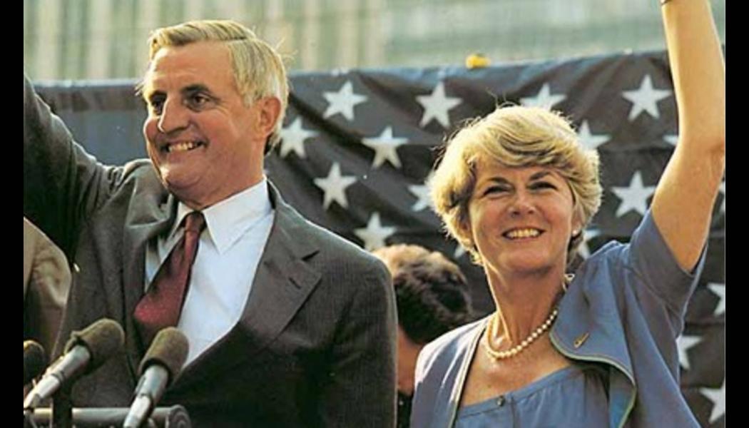 Vice-presidential candidate Geraldine Ferraro [right] with presidential candidate Walter Mondale at a political rally in 1984.