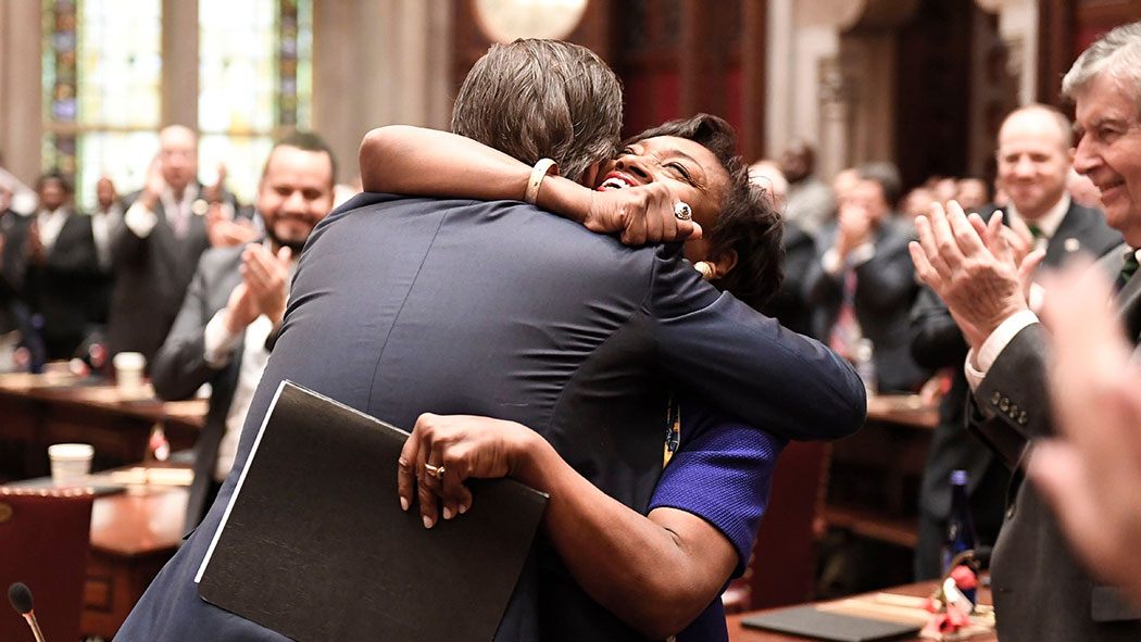Gianaris embraces state Senate Leader Andrea Stewart-Cousins after helping her gain the majority.