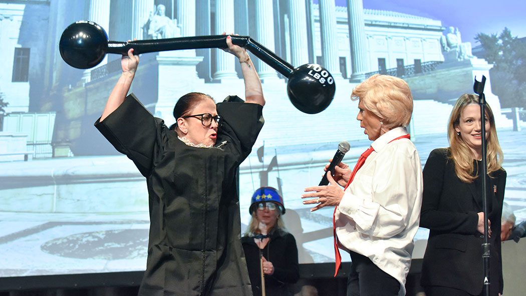 U.S. Supreme Court Justice Ruth Bader Ginsburg, played by former Newsday reporter Molly Gordy.