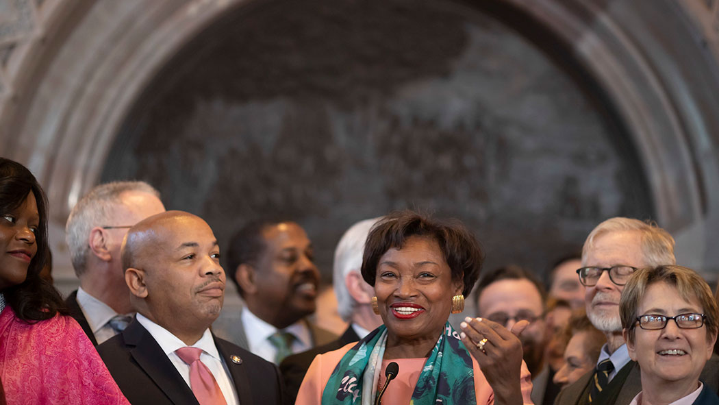 Stewart-Cousins and Heastie announce historic women's health care protections.