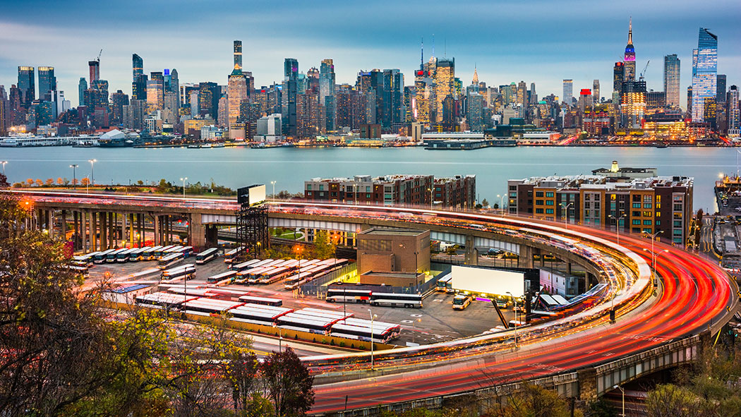 New York City skyline over The Helix Loop.