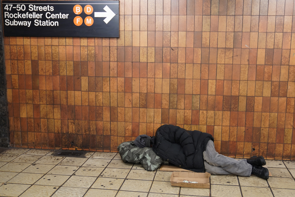 A homeless person in New York City's Times Square subway station.