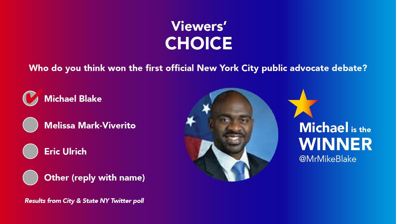The most retweeted tweet in the New York City public advocate debate.