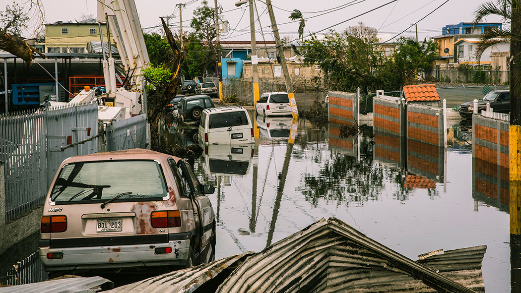 The streets of San Juan, flooded weeks after Hurricane María.