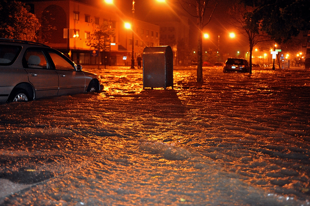 Flood waters in Manhattan caused by Superstorm Sandy.