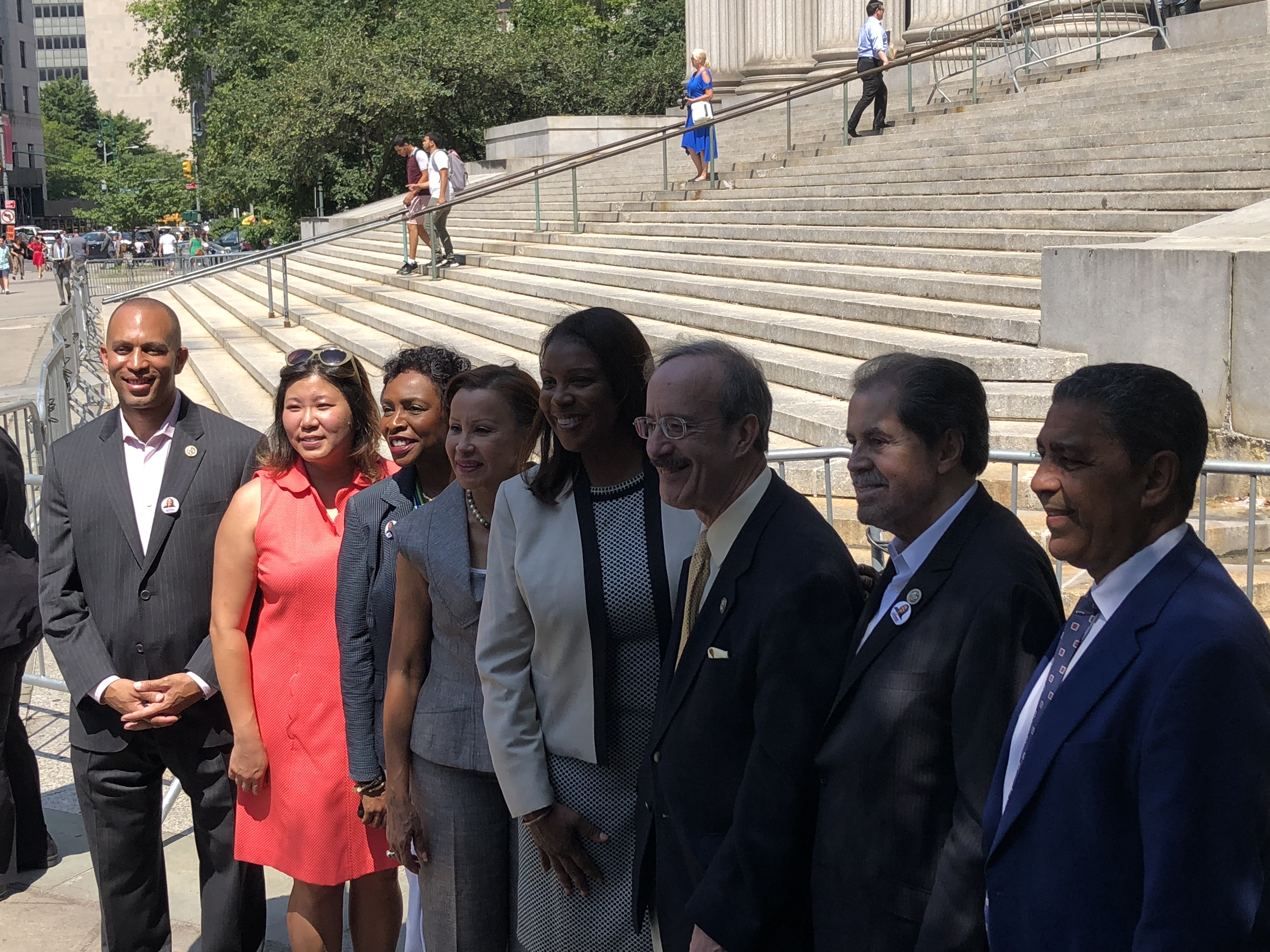 The members of New York City's congressional delegation literally line up in support of Letitia James for attorney general.