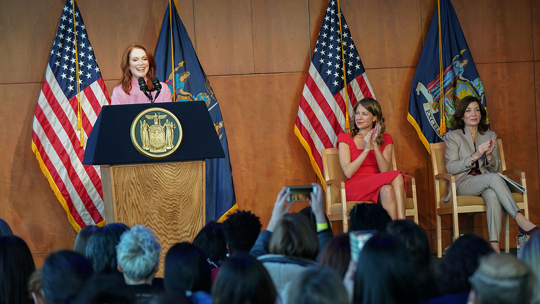 Julianne Moore at the unveiling of Cuomo's 2019 Women's Justice Agenda.