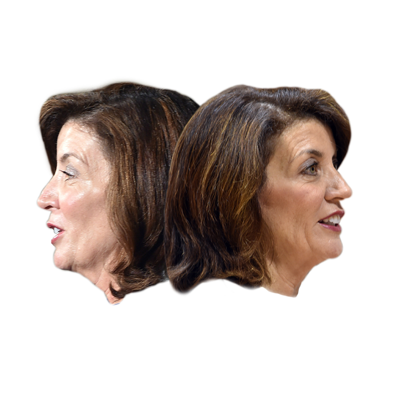 Kathy Hochul facing in opposite directions