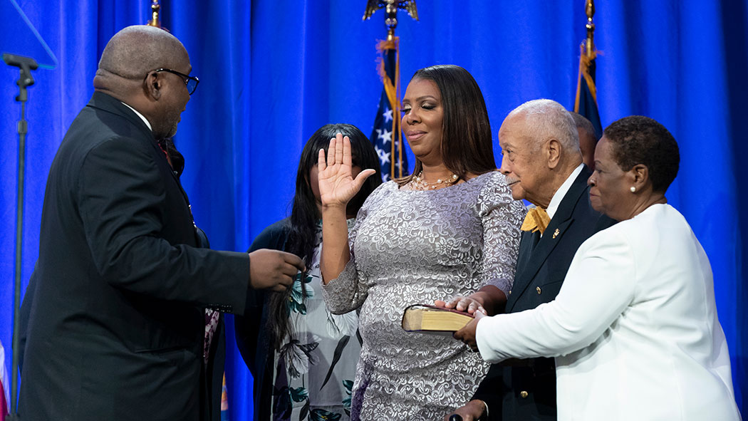 Attorney General Letitia James taking the oath of office.