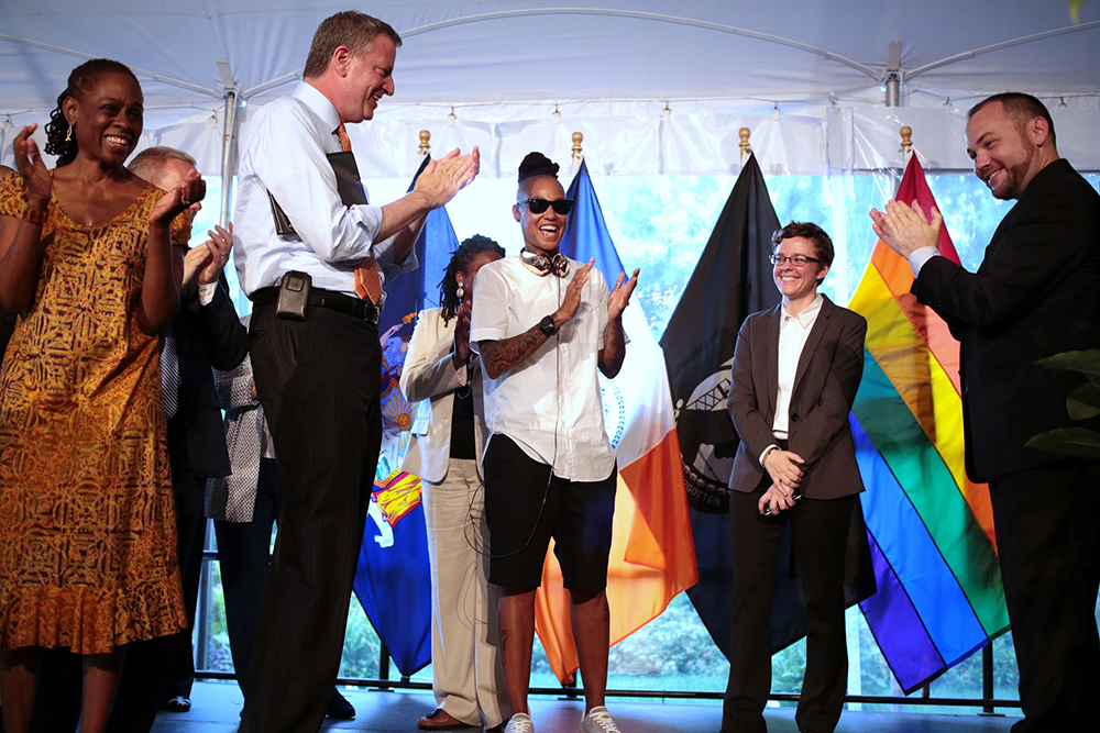 Emma Wolfe attends New York City Mayor Bill de Blasio and first lady Chirlane McCray's LGBT Pride Reception at Gracie Mansion in 2014.