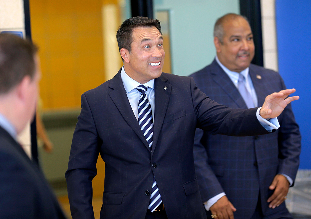 Michael Grimm arrives at his polling place to vote in the 2018 GOP primaries