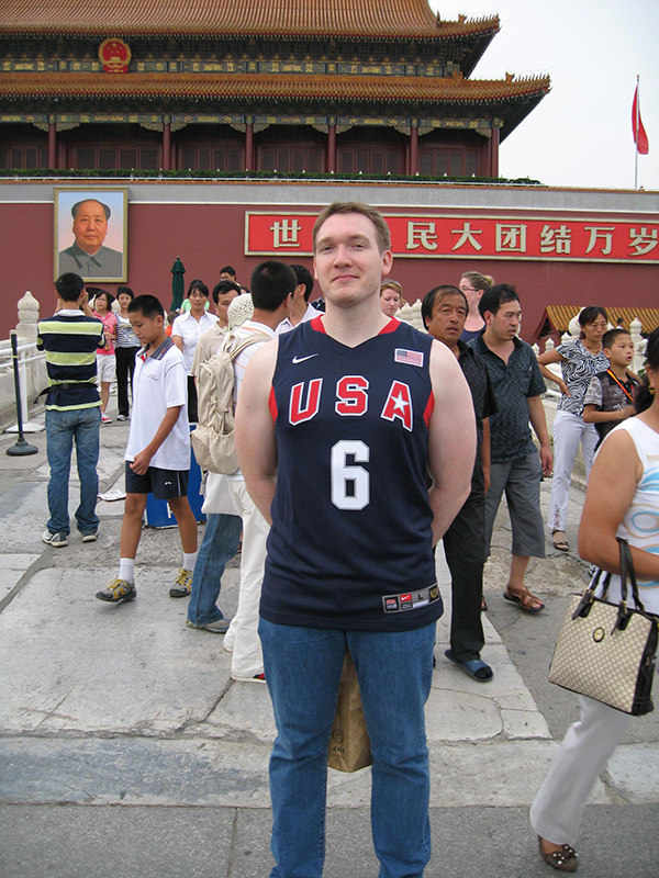 Nate McMurray in Tian'anmen Square, Beijing, China, when he was a student at Qinghua University, the alma mater of Chinese President Xi Jinping.
