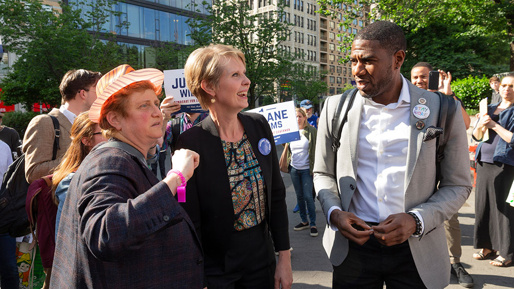 Christine Marinoni, Cynthia Nixon and Public Advocate Jumaane Williams attending a rally to get names on the Democratic Party primary ballot in 2018.