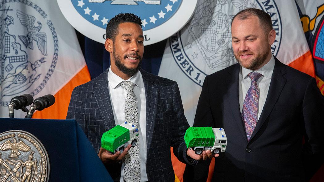New York City Councilman Antonio Reynoso and New York City Council Speaker Corey Johnson.