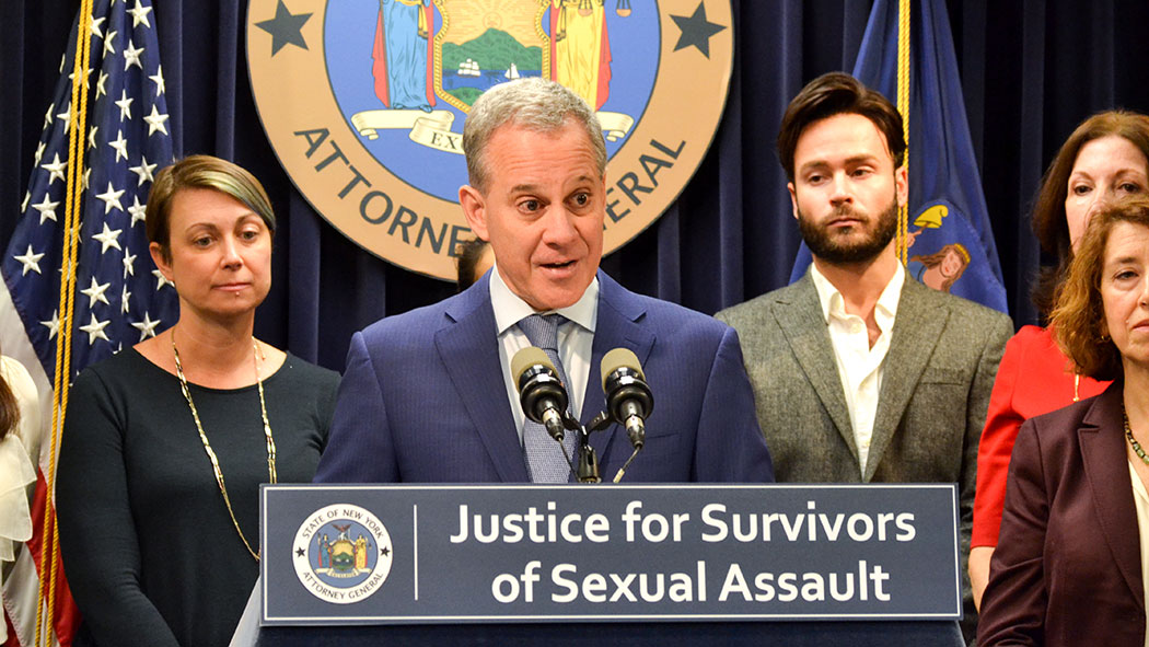 Former Attorney General Eric Schneiderman announcing a settlement with Brooklyn Hospital to ensure rape survivors are no longer billed for forensic rape examinations.