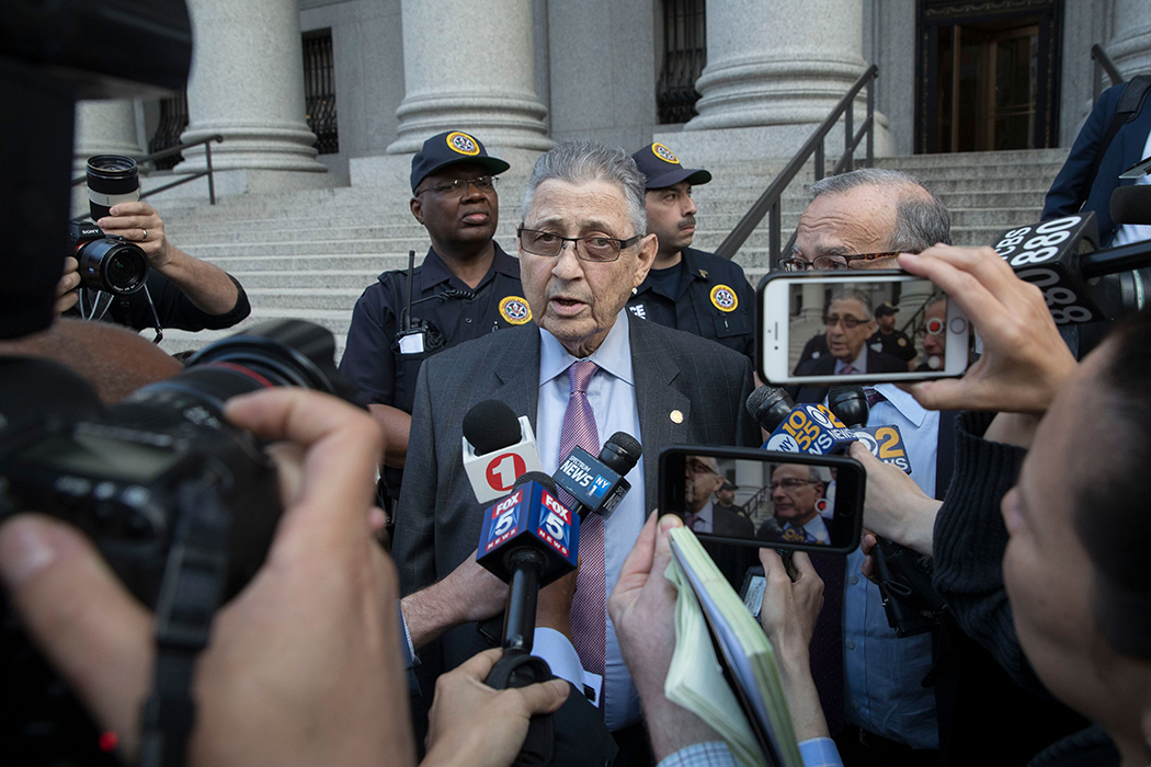 Former New York Assembly Speaker Sheldon Silver speaks to reporters outside federal court after he was convicted of public corruption charges for a second time.