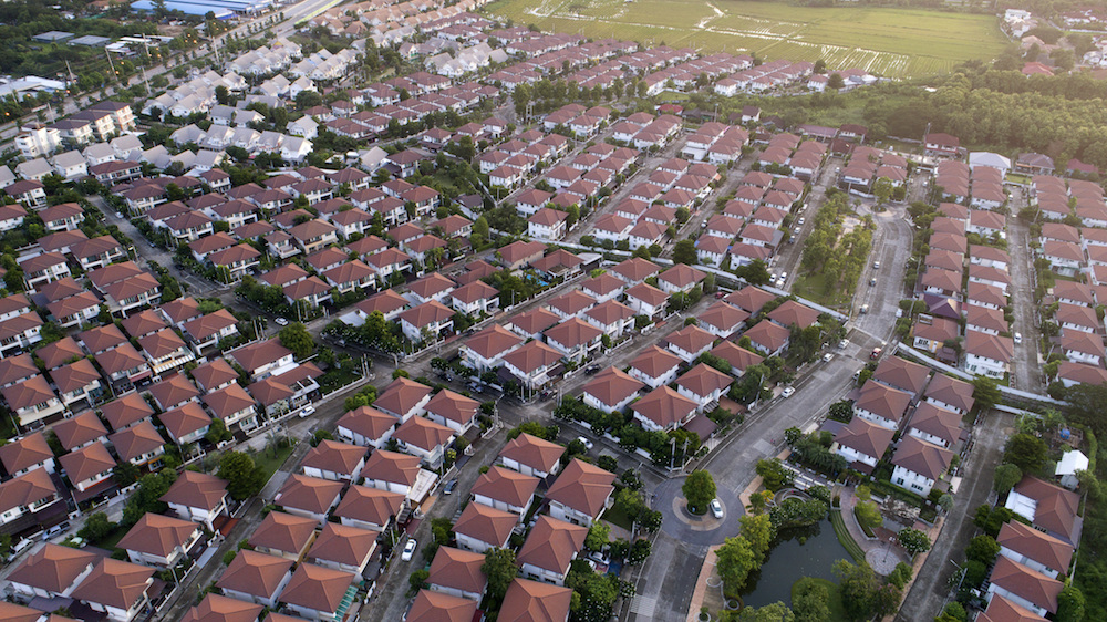 Suburban homes from overhead