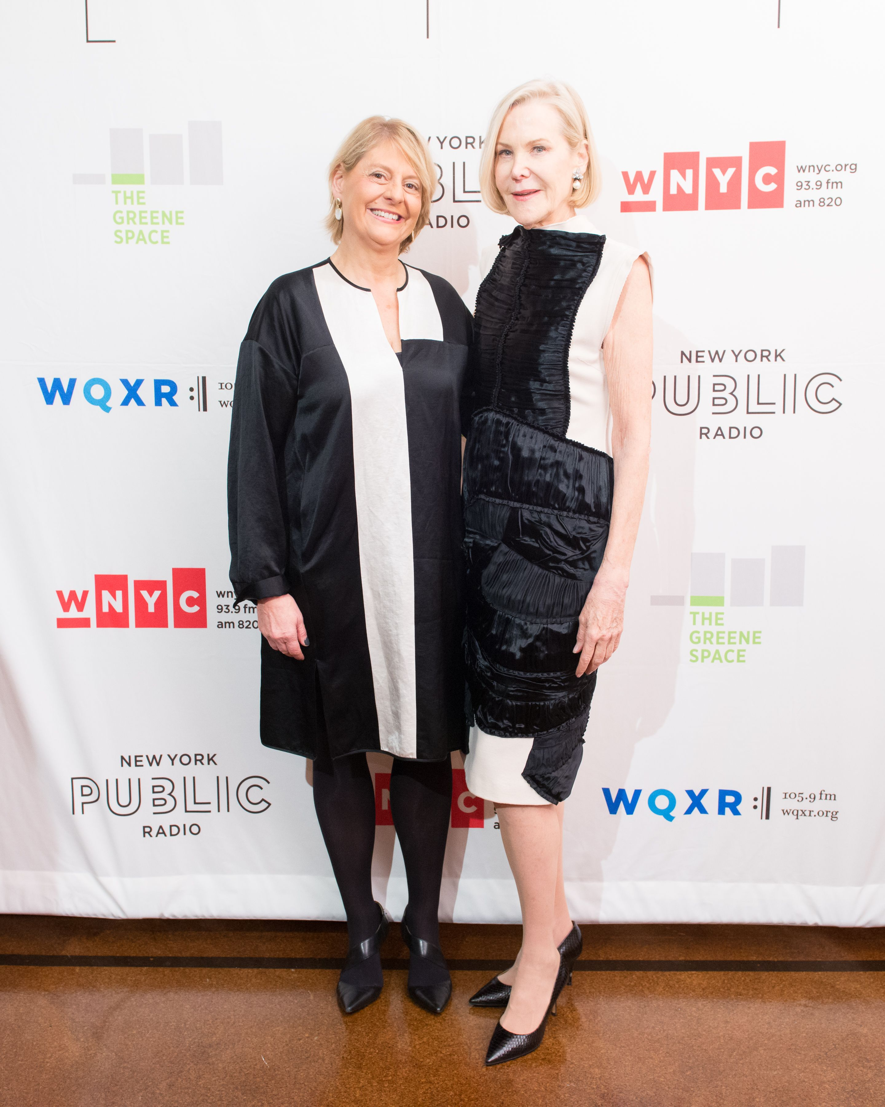 New York Public Radio President and CEO Laura Walker with Christina McInerney, CEO of the Jerome L. Greene Foundation.