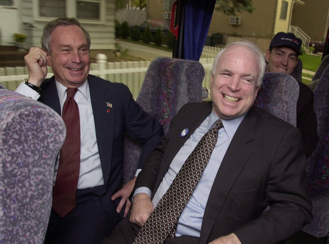 Bloomberg with Senator John McCain in November, 2001 on a bus between his campaign stops in Staten Island.