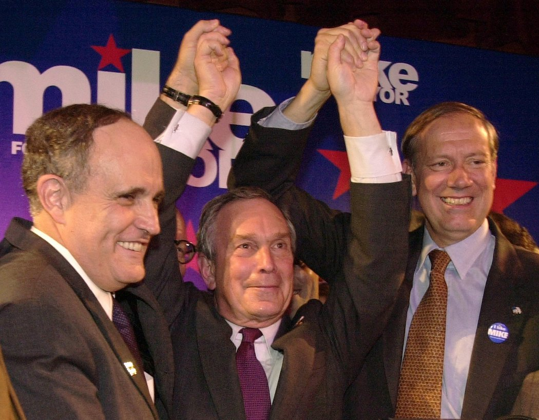 Bloomberg, Rudy Giuliani, and Governor George Pataki celebrating Bloomberg winning his 2001 mayoral campaign.