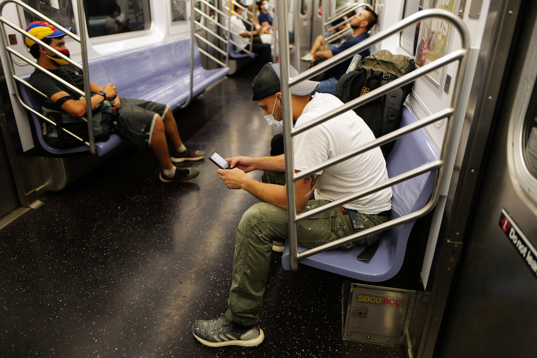 A quieter than usual subway car on July 25th.