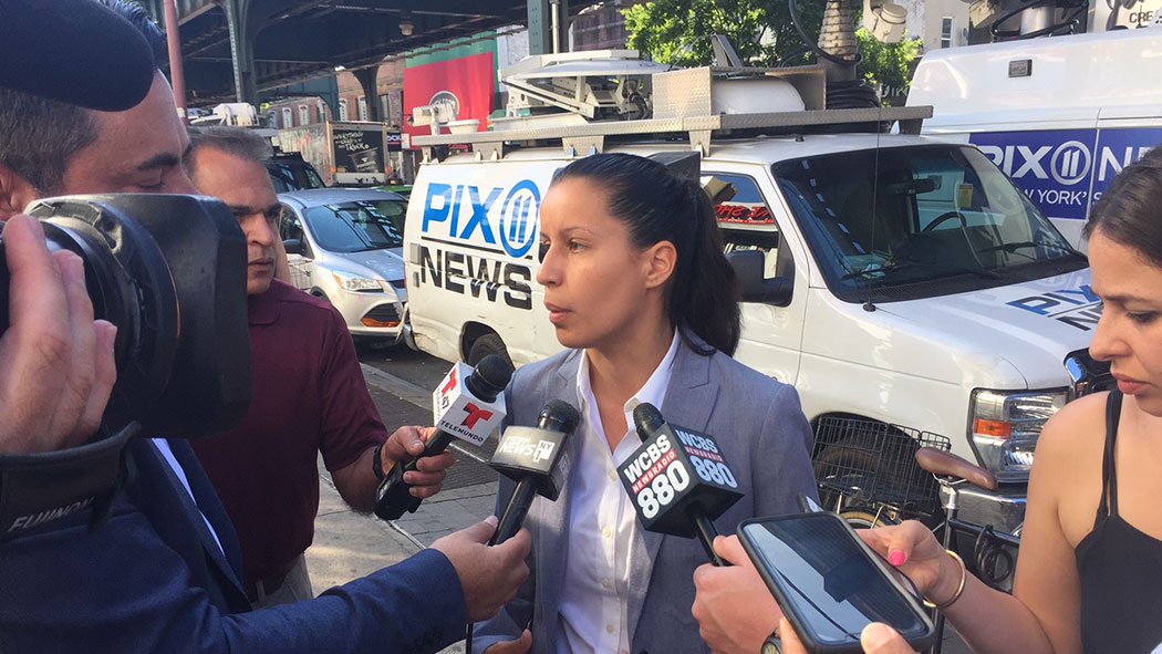 Tiffany Cabán speaks with news outlets the morning after the primary election.