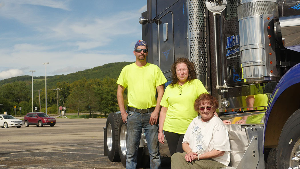 """From left, Andrew Jefferds and Christine Jefferds own a metal fabrication company and Andrew works as a trucker. Kim McDowell owns a trucking business in Allegany County. """"I think there needs to be some attention (to rural areas),"""" Christine says. """"I wish"""